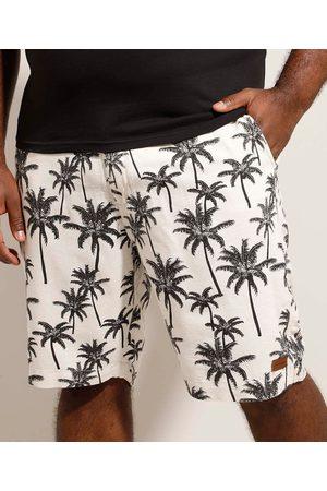 Suncoast Bermuda Reta com Linho Plus Size Estampada de Coqueiro Off White