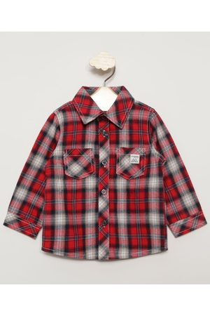 Palomino Camisa Infantil de Flanela Estampada Xadrez Manga Longa Vermelha