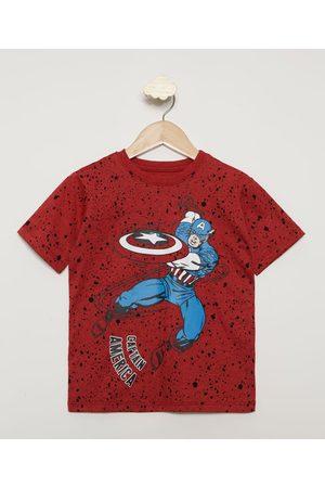 Marvel Menino Camisolas de Manga Curta - Camiseta Infantil Estampada de Respingos Capitão América Manga Curta Vermelha