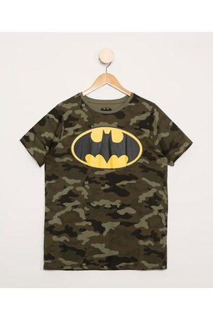 Warner Bros Menino Camisolas de Manga Curta - Camiseta Juvenil Batman Camuflado Manga Curta Verde Militar