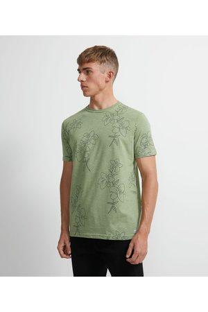 Ripping Homem Camisolas de Manga Curta - Camiseta Manga Curta em Algodão Estampa Lírios | | | P