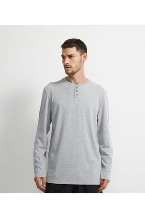 Viko Homem Camisolas de Manga Larga - Camiseta Pijama Manga Longa Gola Henley | | | GG