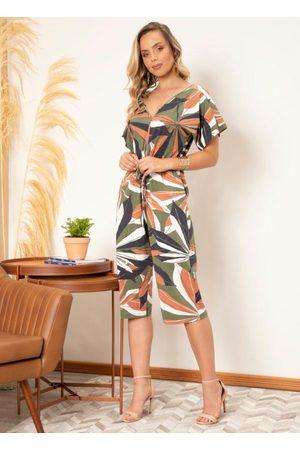 QUINTESS Mulher Macacão - Macacão Floral Color com Amarração na Cintura