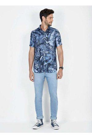 Dimy Homem Camisa Casual - Camisa Viscose Manga Curta Estampa Digital Ca