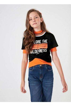 Dimy Candy Menina Camiseta - T-Shirt Cropped com Retilínea no Decote Pret
