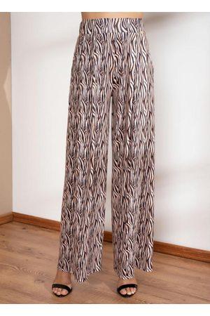 QUINTESS Calça Pantalona Tigre com Pregas e Bolsos
