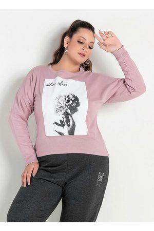 Marguerite Mulher Casacos - Casaco Rosê com Estampa na Frente Plus Size