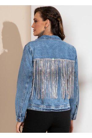 QUINTESS Mulher Jaqueta Jeans - Jaqueta Jeans com Franjas de Brilho