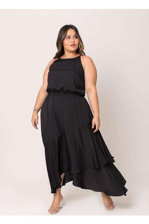 Pianeta Mulher Vestido Médio - Vestido Almaria Plus Size Midi Creponado P