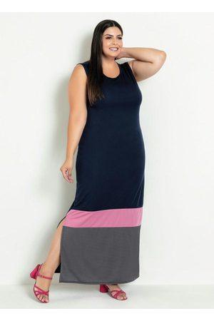Marguerite Vestido Longo Marinho com Fendas Plus Size