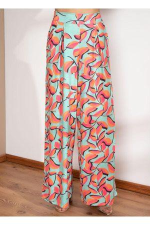 Quintess Mulher Calça Pantalona - Calça Pantalona Folhagem com Bolsos
