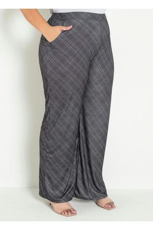 Marguerite Mulher Calça Pantalona - Calça Xadrez Preta com Elástico Plus Size