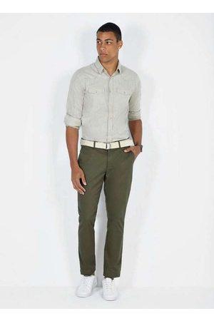 Dimy Homem Camisa Casual - Camisa Manga Longa Lisa com Bolsos