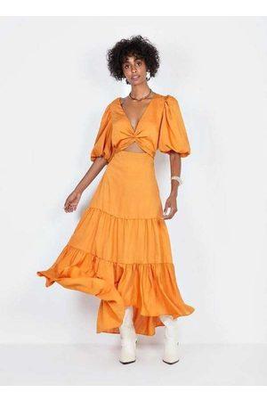 Dimy Mulher Vestido Longo - Vestido Amplo Breezy Dress Ves23852 Laranj