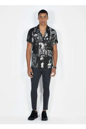 Dimy Homem Camisa Casual - Camisa Viscose Manga Curta Estampa Digital Azul Ca