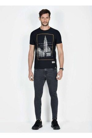 Dimy Homem Camisolas de Manga Curta - T-Shirt Flamê Estampa Frontal Tsh61506