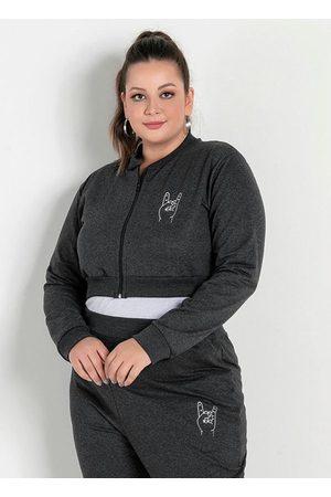 Marguerite Mulher Jaquetas - Jaqueta Cropped Mescla Plus Size