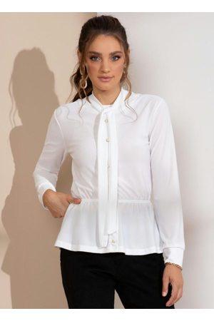 Quintess Mulher Manga Longa - Blusa Branca com Gola Laço e Botões Perolados