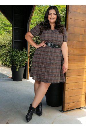 Marguerite Mulher Vestidos - Vestido Xadrez Mangas Bufantes Plus Size