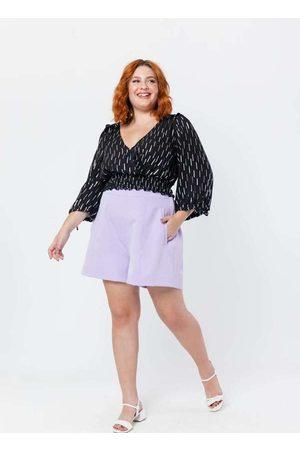 Tal Qual Blusa Almaria Plus Size 3/4 Cropped Foil