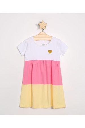 Baby Club Vestido Infantil com Recortes Manga Curta