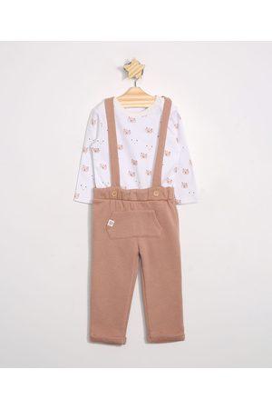 Baby Club Conjunto Infantil de Body de Algodão de Ursos Manga Longa Branco + Calça de Moletom com Suspensório Marrom