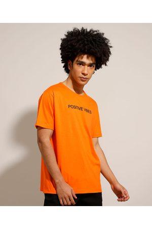 """Clockhouse Camiseta de Algodão Positive Vibes"""" Manga Curta Gola Careca """""""