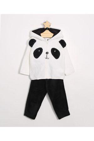 Baby Club Conjunto Infantil em Plush de Blusão Panda com Capuz Off White + Calça Preta
