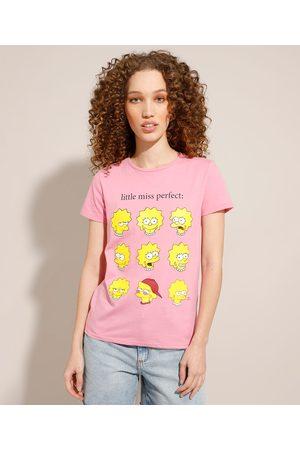 Os Simpsons Camiseta de Algodão Lisa Simpson Manga Curta Decote Redondo