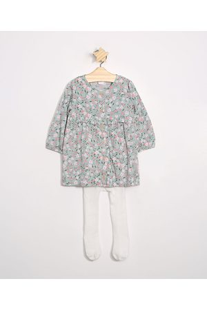 Baby Club Vestido Infantil de Viscose Floral com Botões Manga Longa + Meia Calça Verde