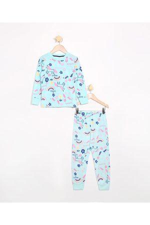 Palomino Pijama Infantil Manga Longa Unicórnios Verde Claro