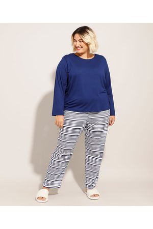 Design Íntimo Pijama Manga Longa Plus Size com Listras Azul Marinho