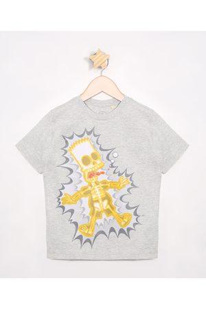 Os Simpsons Camiseta Infantil Bart Simpson Manga Curta Mescla Claro