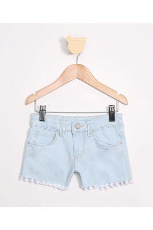 PALOMINO Short Infantil Jeans com Pompons Claro