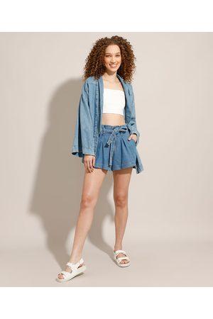 YESSICA Short Clochard Godê Jeans com Pregas Cintura Super Alta Médio
