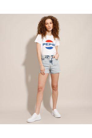 YESSICA Short Jeans Marmorizado com Barra a Fio Cintura Super Alta Claro