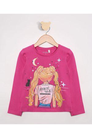 Palomino Blusa Infantil Menina e o Gatinho Manga Longa Decote Redondo Pink