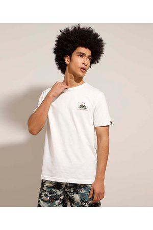 """Suncoast Camiseta de Algodão California Republic"""" Manga Curta Gola Careca Off White"""""""