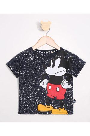 Disney Camiseta Infantil Mickey Estampada de Respingos Manga Curta Gola Careca Azul Marinho