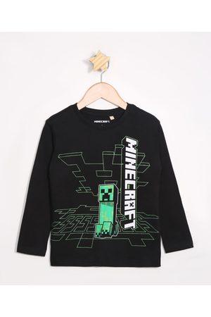 Minecraft Menino Camisolas de Manga Larga - Camiseta Infantil Manga Longa Preta