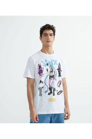 Blue Steel Camiseta Manga Curta em Algodão Estampa Jinx LoL | | | PP