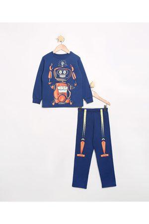 Brandili Menino Moletom - Pijama Infantil de Moletom Manga Longa Robô