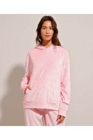 Basics Mulher Jaquetas - Blusão de Plush Básico com Bolso e Capuz Claro