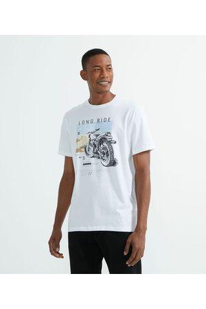 Marfinno Homem Camisolas de Manga Curta - Camiseta Manga Curta com Estampa Motocicleta | | | G
