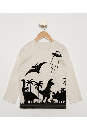 PALOMINO Camiseta Infantil Dinossauros Flocada Manga Longa