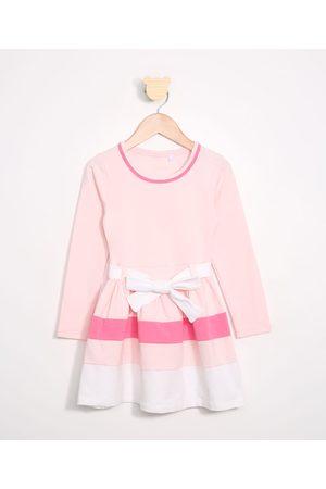 Palomino Vestido Infantil com Recortes e Cinto Manga Longa