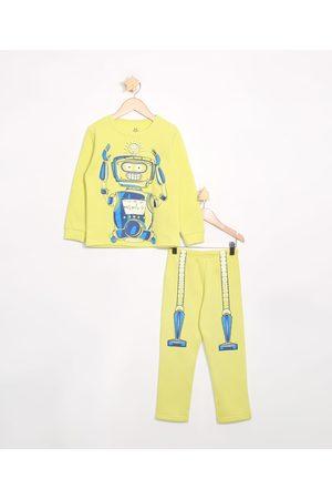 Brandili Pijama Infantil de Moletom Manga Longa Robô
