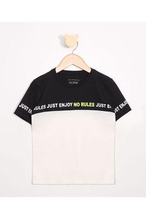 """PALOMINO Camiseta Infantil No Rules"""" com Recorte Manga Curta Gola Careca Preta"""""""
