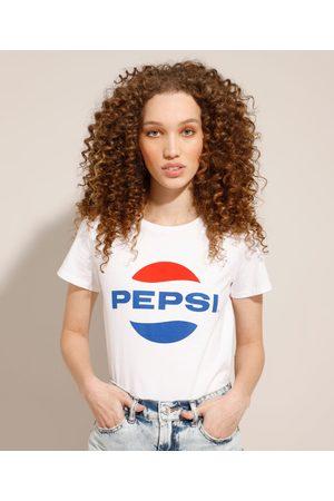 PepsiCo Camiseta de Algodão Pepsi Manga Curta Decote Redondo Off White