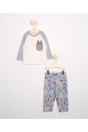 Brandili Pijama Infantil Raglan com Bolso Manga Longa Off White
